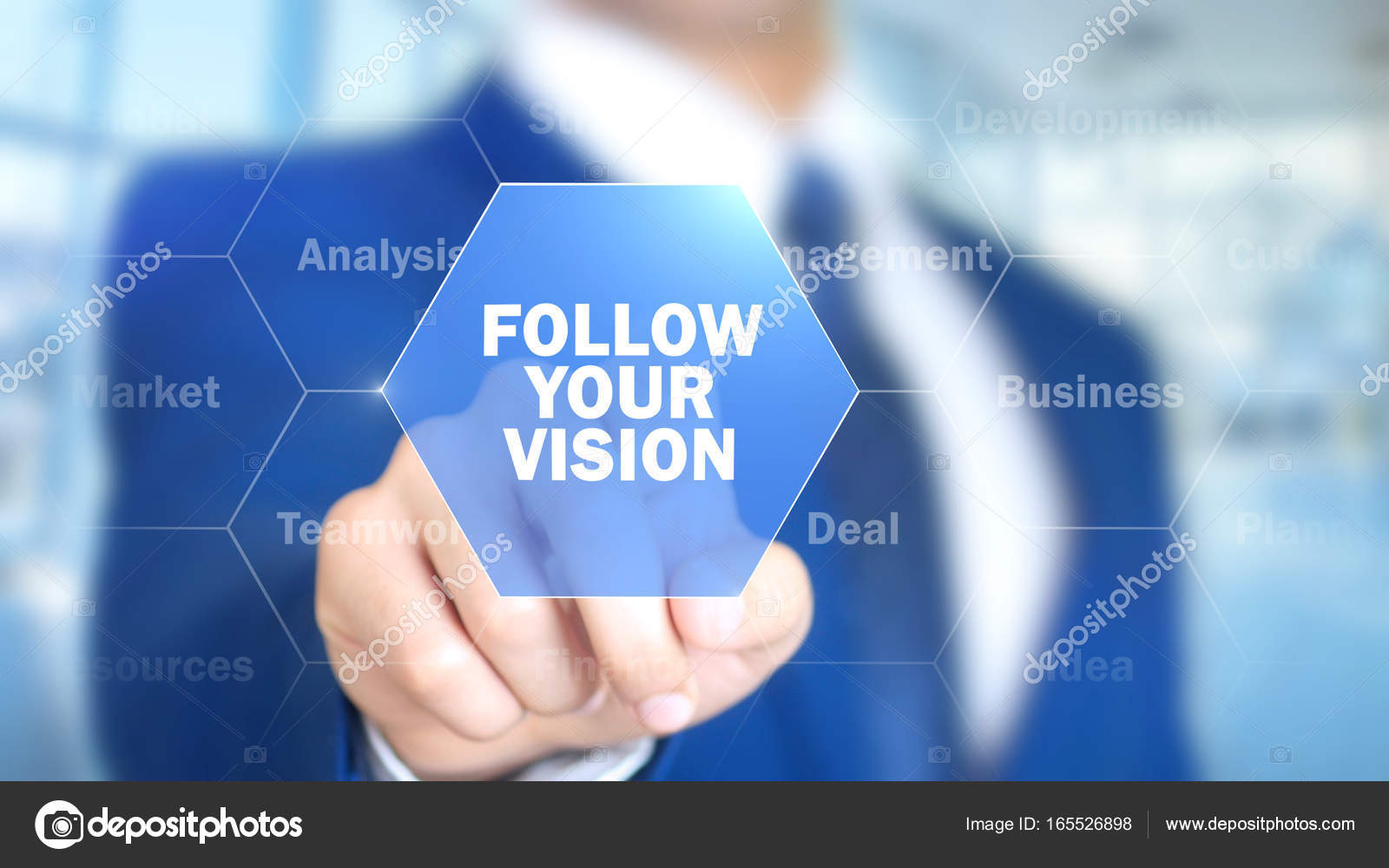 Follow Your Vision, Businessman working on holographic interface, Motion